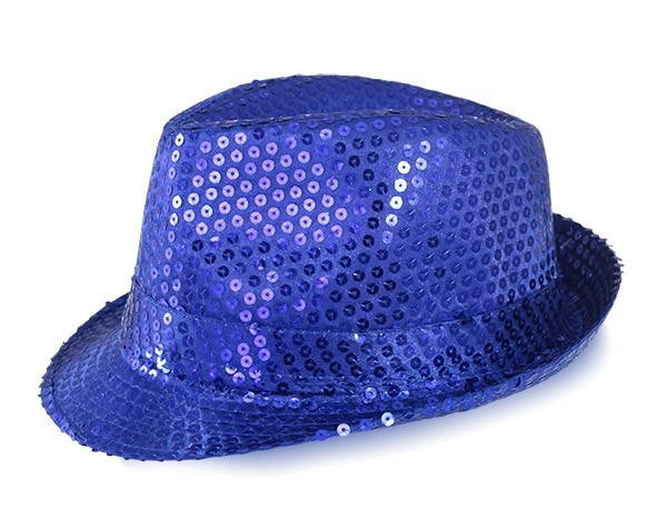 Chapeau Disco Paillette bleu royal ( unisexe )