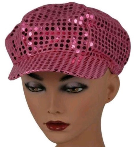 Casquette disco rose pale paillette